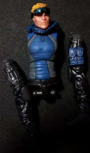 "A picture of a disassembled 4"" action figure of Torrent , a water-controlling superhero."