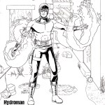 Illustration by Shell Presto DiBaggio of the superhero Hydroman, who was originally created by Bill Everett. This (very slightly tweaked) version of the hero is how he appears in the Ascension Epoch during the 60s and 70s. Hydroman (the character, not this drawing) is in the public domain.