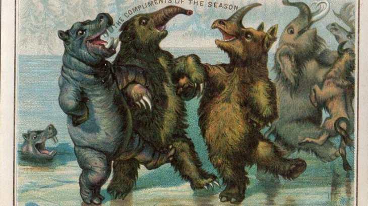 Prehistoric megafauna ice skate in this 1880s postcard.
