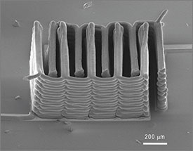 A 3D printer made this battery. It's smaller than a grain of sand. Credit: Ke Sun, Teng-Sing Wei, Jennifer Lewis, Shen J. Dillon