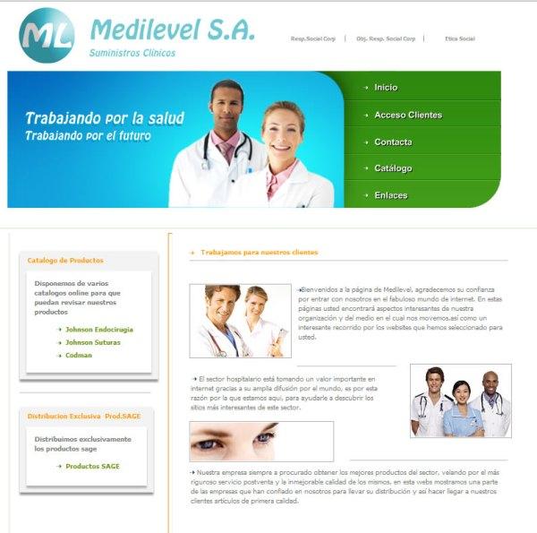Medilevel Suministros Clínicos - Diseño web a medida