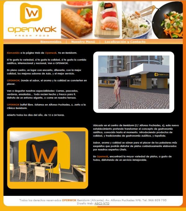 Openwok Restaurante - Diseño web a medida