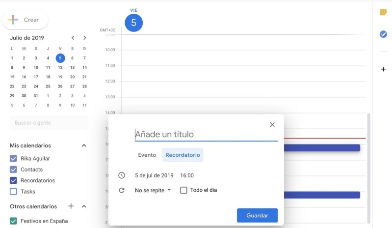 Google Calendar. Introducción evento o recordatorio.