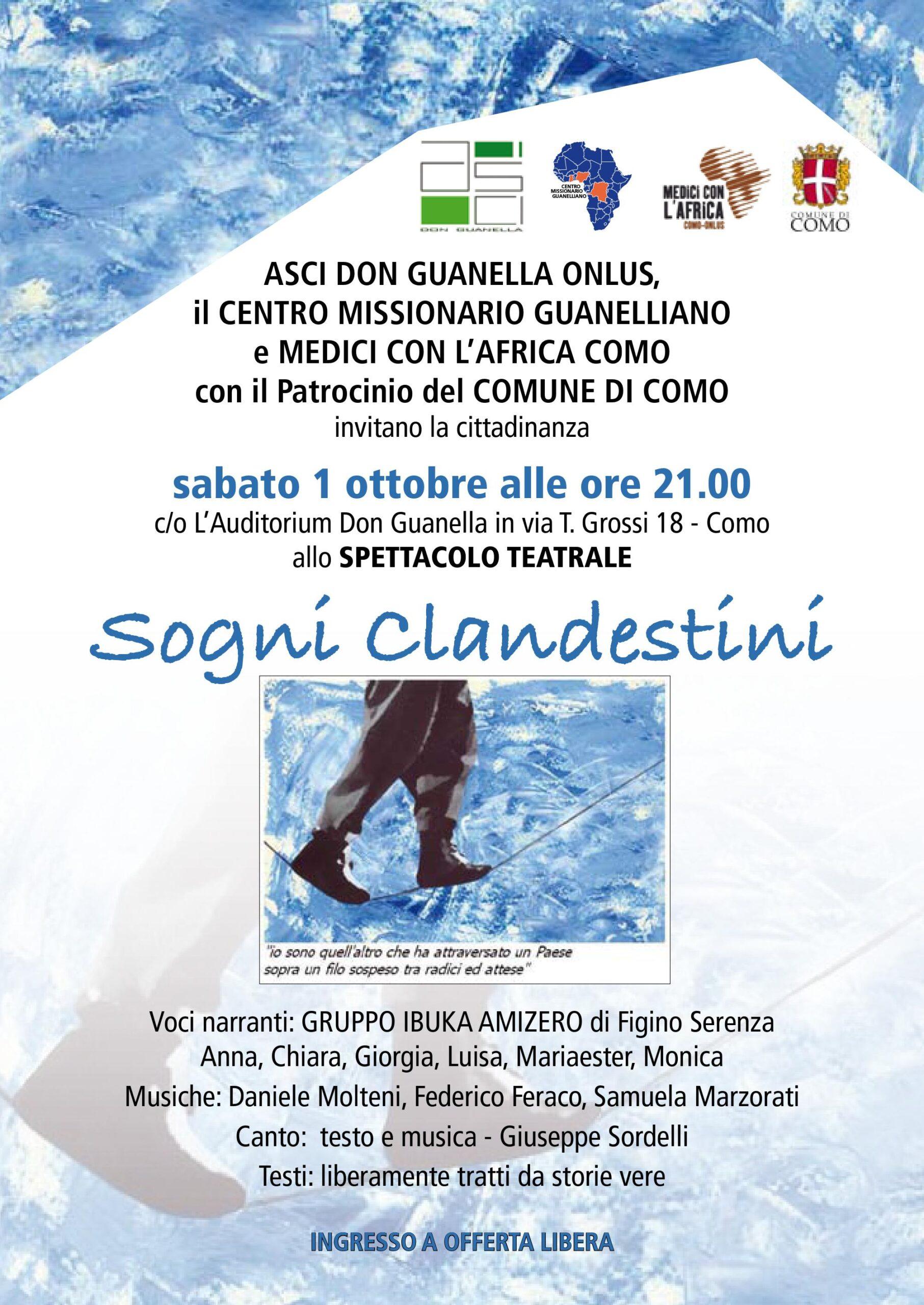 SPETTACOLO TEATRALE 1 OTTOBRE all'Auditorium San Luigi Guannella a Como – SOGNI CLANDESTINI