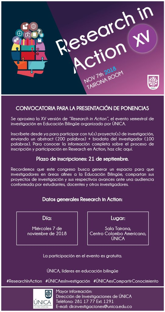 "Convocatoria ""Research in action XV""  UNICA"