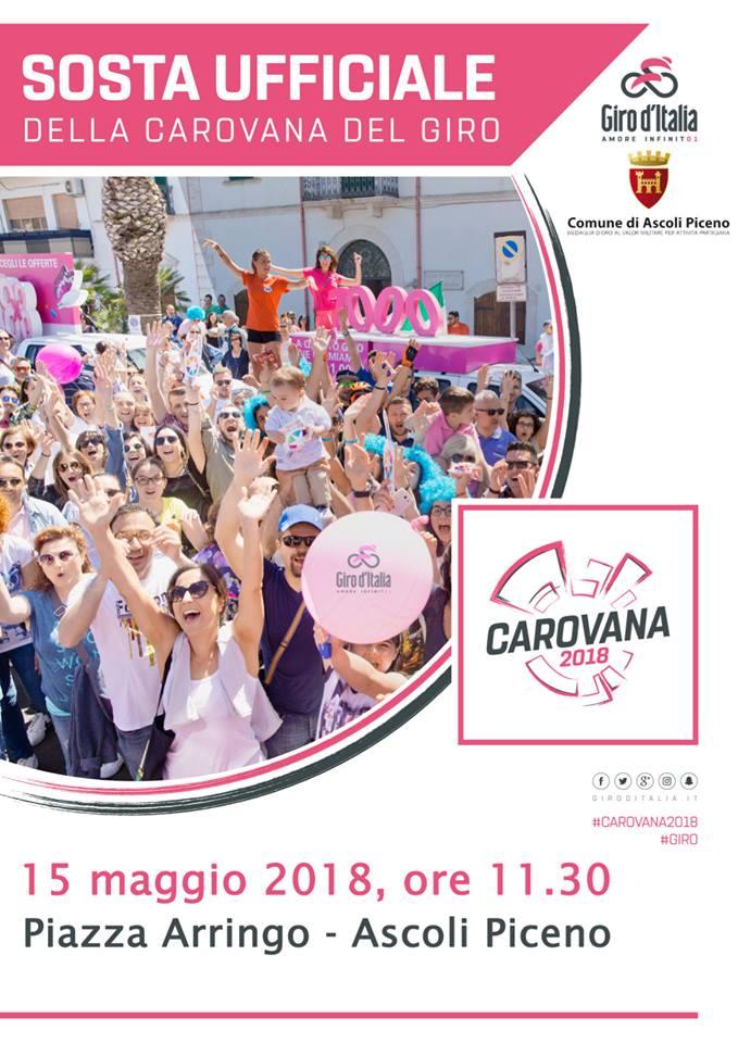 La locandina della sosta del Giro d'Italia a Ascoli Piceno