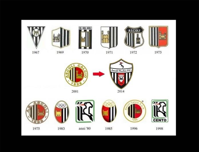 I loghi utilizzati dall'Ascoli Calcio nella sua storia