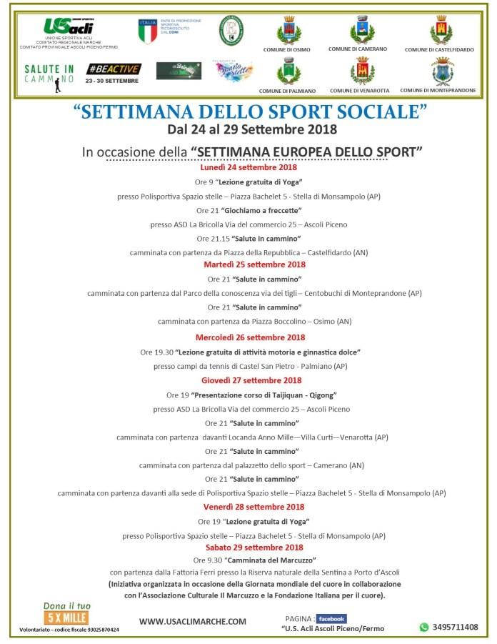 Programma Settimana dello sport sostenibile