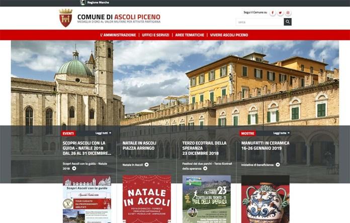 La home page del nuovo sito internet del Comune di Ascoli Piceno