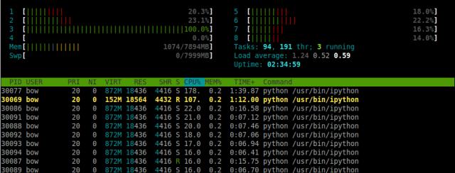 2 programmes Python, un mono-thread, le second avec 10 threads.