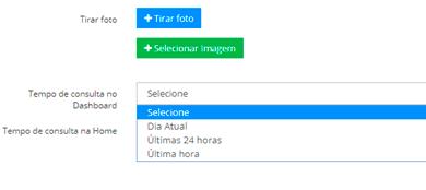 Configuração do dashboard para que o usuário possa definir o período que deseja ver as informações de dashboard e home