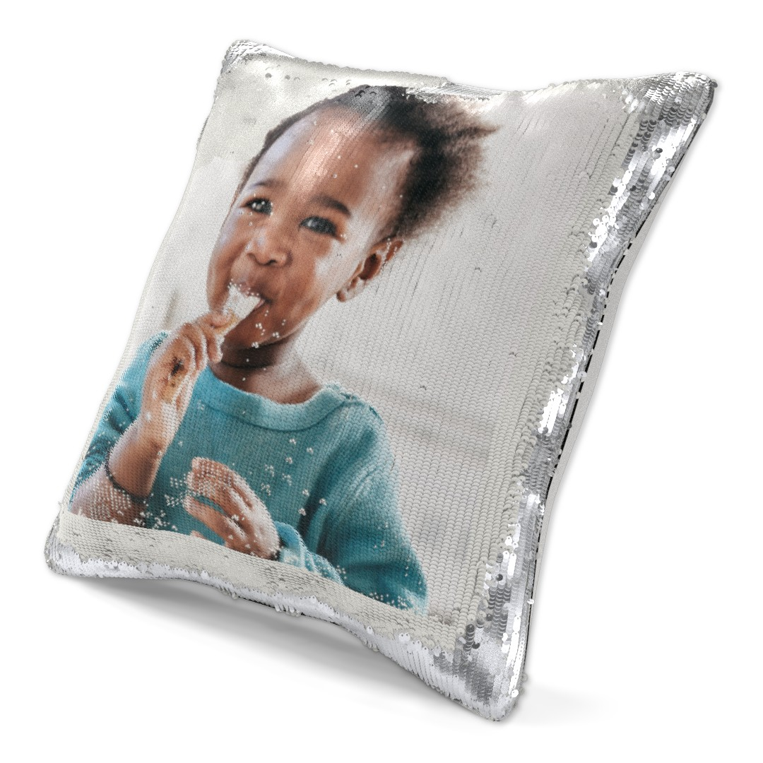 medium silver sequin reveal cushion 15 x 15 with insert
