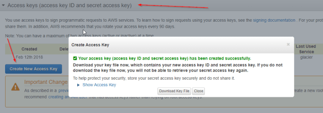 Create a new Access Key for your Glacier Vault