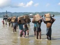 Rohingya Muslims flee violence in Rakhine State.