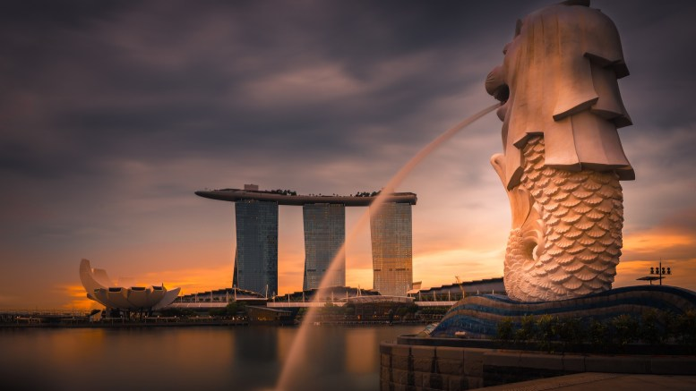 Singapore's Marina Bay Sands viewed from the financial district