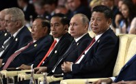 Belt and Road international forum. Right to left: President of China Xi Jinping, President of Russia Vladimir Putin, President of Indonesia Joko Widodo.