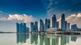 A view of Singaporean skyline reflected in the water
