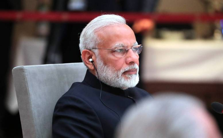 Prime Minister of India Narendra Modi at an informal meeting of heads of state and government of the BRICS countries.