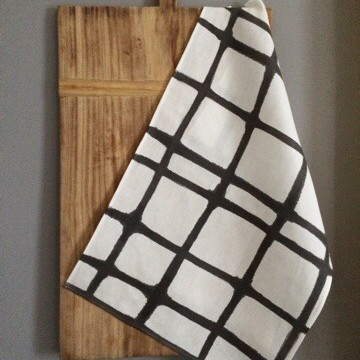 B&W Painted Grid Cotton Tea Towel