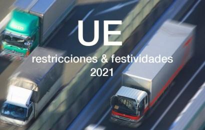 Adelanto restricciones al tráfico y festividades UE durante el 2021
