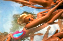 Dolls floating in the pool 32