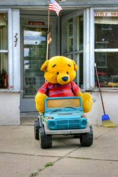 Pooh bear sitting in Blue jeep in Phoenixville (2010)