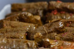 Dolmathakia me Kima: Stuffed Grape Leaves with Meat & Rice
