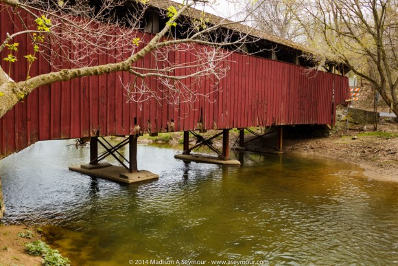 Flood damage to Speakman #1 covered bridge in Chester County PA.