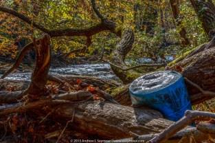 Blue barrel stuck in tree 134
