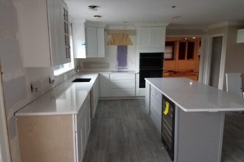 Technistone Bianco Noble Areti white quartz kitchen in Lakeland Florida