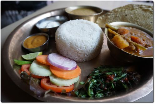 Dal Bhat is the national food in Nepal - Rice with lentil soup.