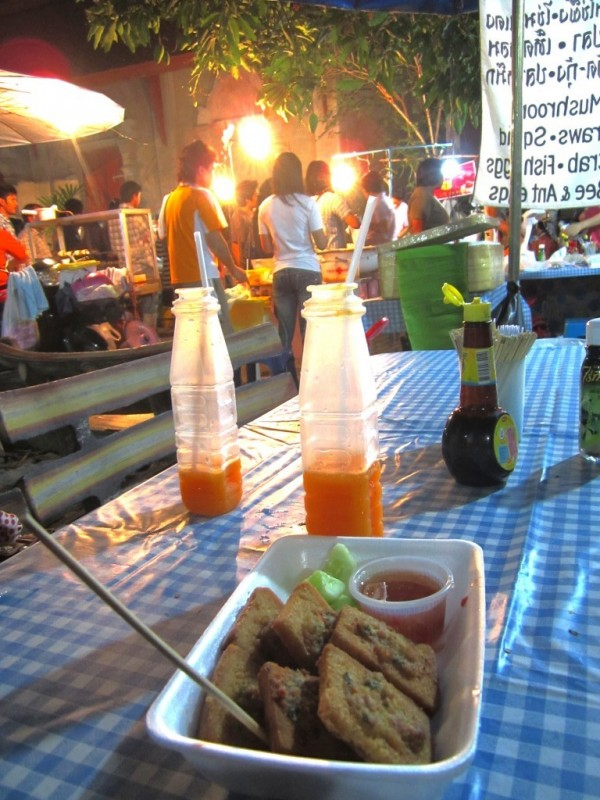 Walking street market prawn toast orange juice