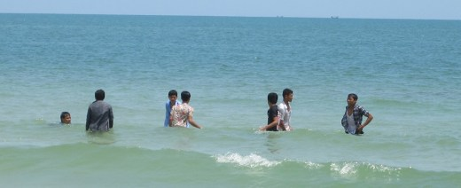 Cambodians at the beach