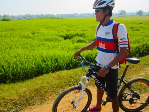Cycling through the flood plain farms along the Mekong