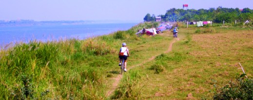 asha cycling along the mekong