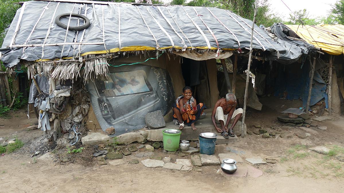 Verarmtes und an Lepra erkranktes Ehepaar, Leprakolonie in Puri (Foto: C.M.)