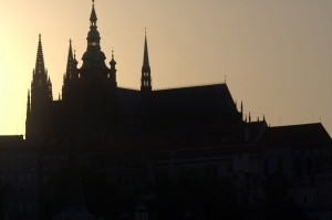 Prague Castle as the evening sets in