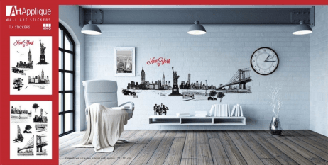 Artistic wall decals - New York tromp l'oeil Art Applique
