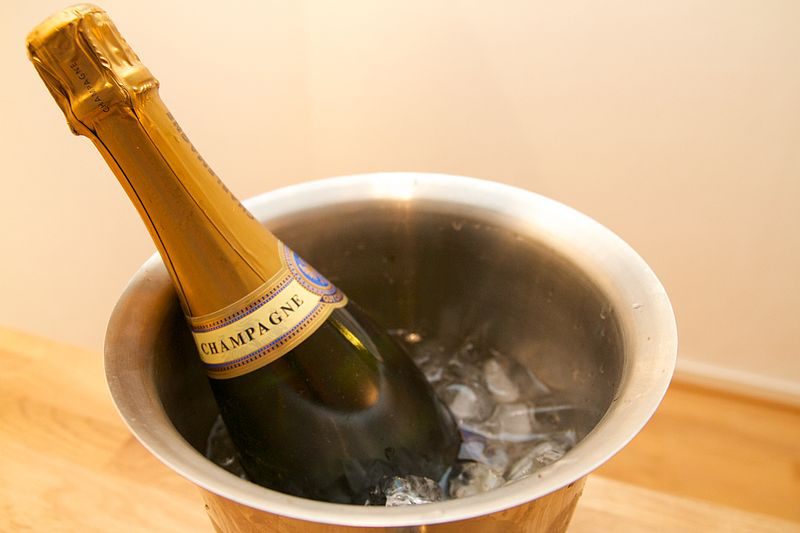 Ice bucket with champagne
