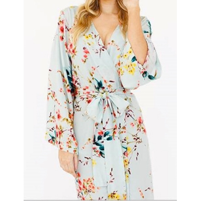Hand painted flower kimono style
