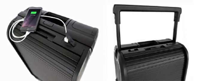 Phone charger modern carry-on suitcase