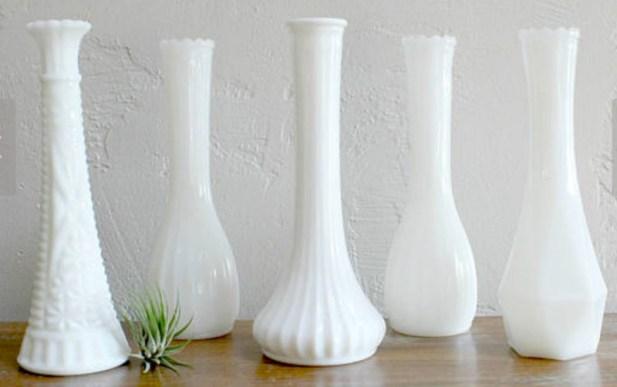 long neck milk glass bud vases