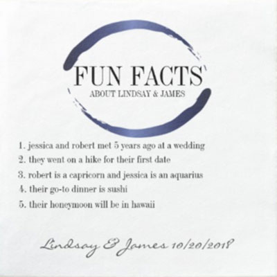its great to personalize the bridal shower the website zazzle is a great source for personalized party products these fun facts paper cocktail napkins