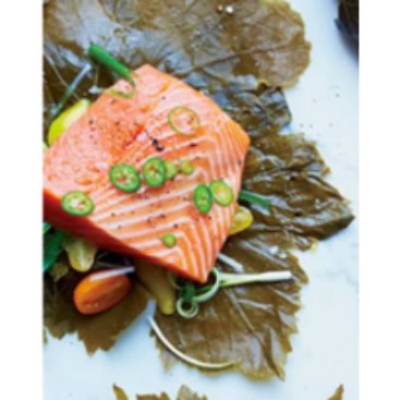 baking salmon in grape leaves