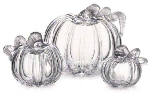 Fall table decorations hand blown glass pumpkins