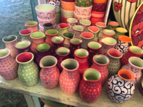 Maine Ceramics colorful water jugs