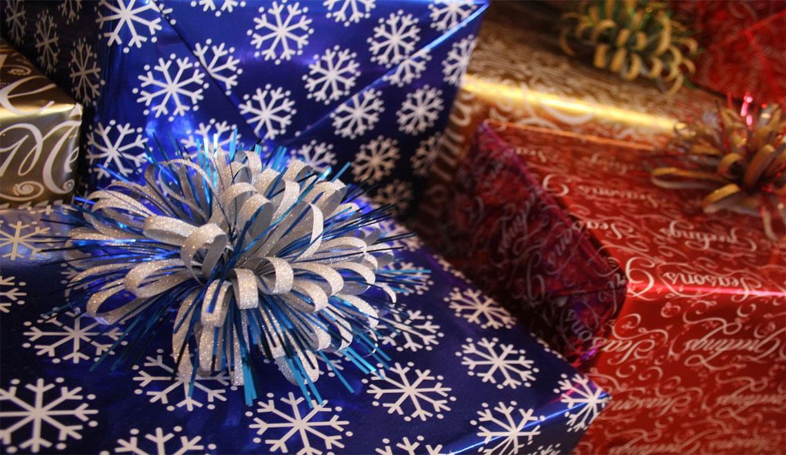 creatively wrapped presents