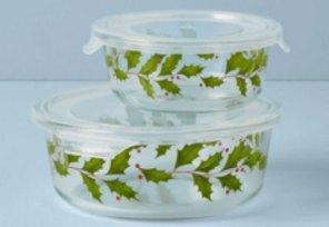 Holiday entertaining storage glass bowls