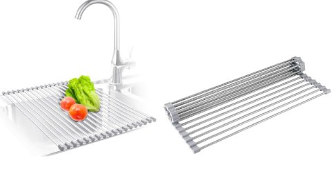 Stainless steel roll up produce drying rack