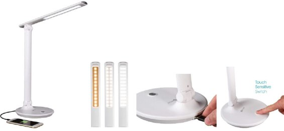 desk light with charging for technology clutter
